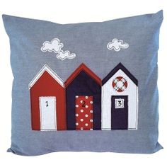 The Beach Hut cushion by Jo Fulham Textiles for From the Wilde