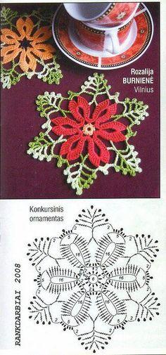 Crochet Christmas Coasters Mom Ideas For 2019 Crochet Motifs, Crochet Diagram, Crochet Chart, Crochet Squares, Thread Crochet, Knit Or Crochet, Crochet Doilies, Crochet Flowers, Crochet Stitches