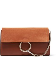 Chloé | Faye leather and suede clutch | NET-A-PORTER.COM