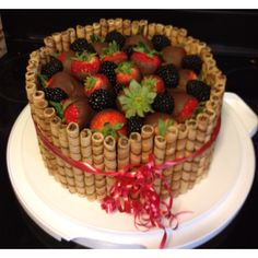"""Chocolate covered strawberry Pirouline cake that I made for my Sister birthday - The original pin is on my """"Sweet Recipes"""" board."""