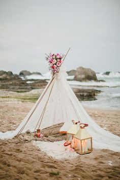 Having a beach bohemian teepee for the big day as a wedding or party idea. Complete with candles, string lights or flowers of your choice. Bohemian Beach Wedding, Beach Wedding Inspiration, Seaside Wedding, Romantic Beach, Beach Weddings, Style Inspiration, Tent Wedding, Dream Wedding, Wedding Backdrops