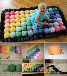 "Awaiting Ada: Bubble Quilt - Puff Blanket - Biscuit Quilt Probably use some of my ""not so favorite"" fabric scraps . Pom Pom Crafts, Yarn Crafts, Sewing Crafts, Diy And Crafts, Bubble Quilt, Quilt Baby, Crochet Projects, Sewing Projects, Diy Projects"