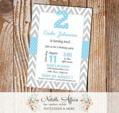 Two 2nd Second Birthday - Gray Chevron and Blue Polka Dots Birthday Invitation - colors can be changed by NotableAffairs