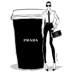 """""""#Prada"""" Love These #Designer #Coffee Cups sketches by Megan Hess"""
