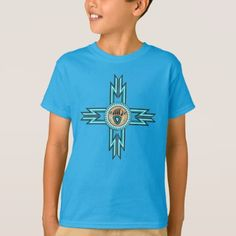 Turquoise Bear Paw Native American Kids T-shirt - kids kid child gift idea diy personalize design