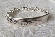 """Love"" Spoon Handle Bracelet Handcrafted from Vintage Silverware"