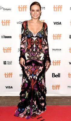 TIFF 2016 Best Dressed on the Red Carpet - Brie Larson in a multicolor Alexander McQueen dress
