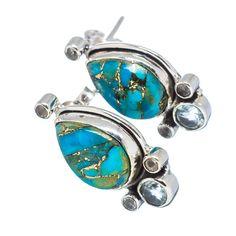"Blue Copper Composite Turquoise, Blue Topaz, White Quartz 925 Sterling Silver Earrings 1"" EARR319619"