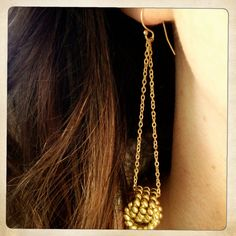 VINTAGE BRASS knot and chain earrings by BluHour on Etsy, $38.00