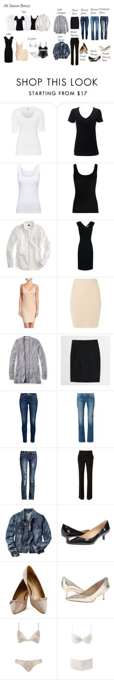 """All-Season Basic Capsule"" by jensmith1228 ❤ liked on Polyvore featuring Majestic, Boody, Twenty, J.Crew, Paper Dolls, Commando, SPANX, L.L.Bean, G-Star and Tory Burch"