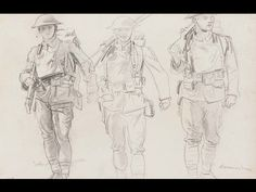 JOHN SINGER SARGENT, SKETCH OF THREE SOLDIERS Graphite pencil on paper. The Sargent Collection–Gift of Miss Emily Sargent and Mrs. Violet Ormond in memory of their brother, John Singer Sargent