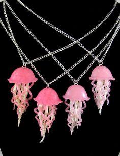 School of Jellyfish Necklaces by *NeverlandJewelry
