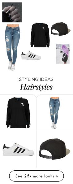 """cxcx colored hair goes w everything"" by shauniegibson on Polyvore featuring adidas Originals, adidas and Brixton"