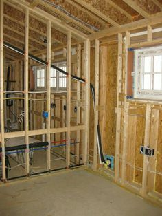 This photo shows the double stud wall. The wall cavity will later be insulated with cellulose. Framing Construction, Shed Construction, Wooden House, House In The Woods, Frames On Wall, Home Remodeling, Woodworking Plans, Building A House, House Plans