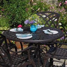 MIA Set di mobili da giardino con tavolino rotondo 90cm e 4 sedie April in alluminio: Amazon.it: Casa e cucina