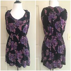 "Free People Black + Purple Floral Dress Free People Black + Purple Floral Dress »→ s »→ true to size »→ 30"" in length »→ viscose »→ gorgeous purple floral dress »→ elastic band waist »→ perfect for summer + spring »→ preloved but in like new condition, no wear Free People Dresses Mini"