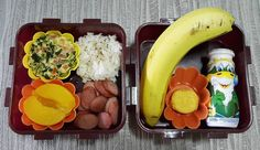 Toddler snack and lunch box idea. Lunch: Sliced sausages  spinach eggs en cocotte  white rice with sesame seeds  sliced peaches. Snack: Yoghurt  a banana  crackers.  #toddlersnack #toddlerlunchbox #lunchbox #kidslunch #kidssnack  #lunch #lunchideas by eli_huh