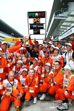 Sergio Perez, Sahara Force India F1 celebrates his third position with the track marshals