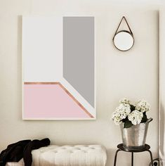 Abstract print Abstract art Pink Gold Copper Grey by WallArt2Decor