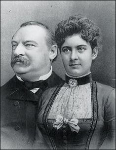"""June 2, 1886 U.S. President Grover Cleveland, 49, marries Frances Folsom, the youngest First Lady to this day at age 21, in the White House's """"Blue Room"""", becoming the only president to wed in the executive mansion. President Cleveland worked as usual on his wedding day."""