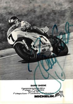 In 1976, B. Sheene (Suzuki) and Michelin clinched 500cc world championship glory. The Englishman repeated the feat the following year, as Michelin achieved a clean sweep by securing every world title available courtesy of A. Nieto (Bultaco 50cc), P. Paolo Bianchi (Morbidelli 125cc), M. Lega (Morbidelli 250cc), T. Katayama (Yamaha 350cc) and of course Sheene (Suzuki 500cc)! In 1978, Barry and his Suzuki were defeated by K. Roberts and his Goodyear-equipped Yamaha : the start of a new tyre…