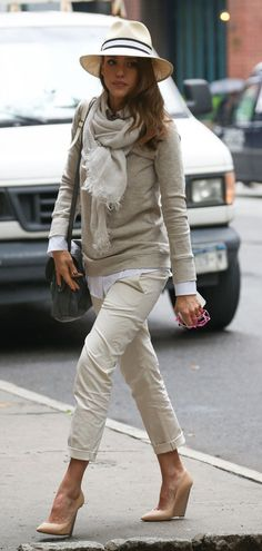 panama hat, sweatshirt, cropped chinos, nude wedges, scarf, neutrals