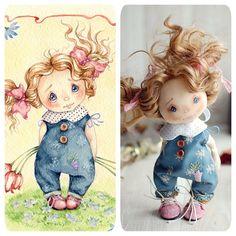 Вот ещё одно волшебное превращение моей куколки в рисунок! Я устала и пропала…