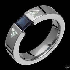 Mens Titanium Ring Wedding Band Diamond Sapphire Ring for Engagement Comfort Fit   eBay