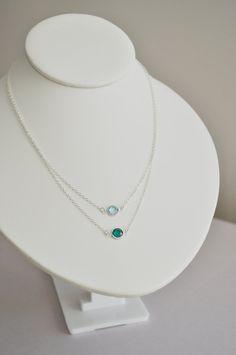 Giada Birthstone Necklace - round swarovski crystal gem sterling silver - custom birthstone color - simple everyday jewelry - mother. $36.00, via Etsy.
