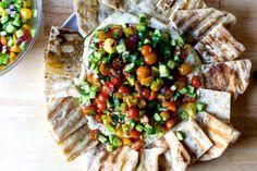 hummus with tomato cucumber salad