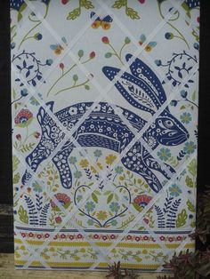 'Woodland Hare' Fabric Notice Message Board - £25.00 - coordinates with Ulster Weavers Woodland range of kitchen textiles & mugs - handmade at Llawnroc Cottage