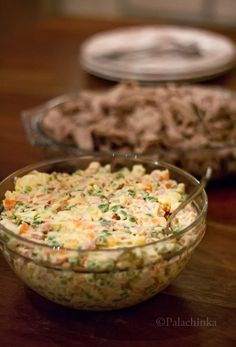 Russian Salad .... I have made this at least 100 times; typically for Christmas and Easter. I don't use ham; we like it with quality bologna, and we add chopped hard boiled eggs ... prep is a little time consuming, but the taste is more than worth it!!!  on http://palachinkablog.com