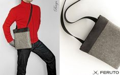 BIG BASIC leather and felt bag for him and her $75.00 - so simple and classy...
