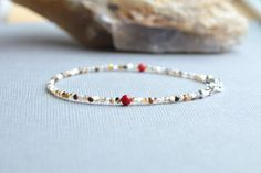 Coral and Shell Bead Bracelet Delicate Skinny by AlaskaDaisy
