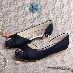 Cheap parti, Buy Quality party plaid directly from China party connect Suppliers: Classic Navy Flat Heel Open Toe Satin Evening Party Shoes Wedding (20 Colors)