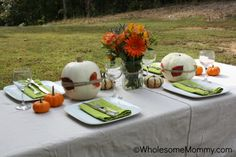 Simple {and frugal} Fall Table scape From WholesomeMommy.com