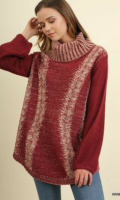 Turtle Neck Sweater with Crochet Knit Detail