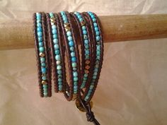 Leather Wrap Bracelet.    Love these boho chic bracelets, they're fun to make too!