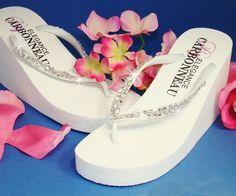 Crystals High Wedge Bridal Flip Flops - White are the perfect pair of platform wedge wedding flip flops for the bride and her bridesmaids. These Bridal flip flops accented with rhinestones brooches in many styles. Bride Flip Flops, Bridesmaid Flip Flops, Wedding Flip Flops, Wedge Wedding Shoes, Bridal Shoes, Bridal Wedges, Custom Flip Flops, Wedge Flip Flops, High Wedges