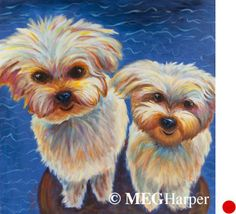 Moe and Petey Pet Portrait ~ Meg Harper ~ Meg Harper Art   Are you looking for a painting of your magnificent pet? Have Meg create a pet portrait just for you, today.    #dog #puppy #best friend #inspirational #kindness #animalpainting #art #painting #pets #petportrait #animal #love #megharper #megharperart