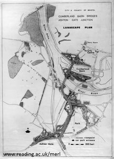 From a blog post on Sylvia Crowe: Drawing showing Cumberland Basin Bridges, Ashton Gate, AR CRO DO1_R2_1