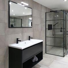 ICHOICE black&white industrieel badkamermeubel zwevend beton black&white dubbel greeploos ide… in 2020 Modern Master Bathroom, Modern Bathroom Design, Bathroom Interior Design, Small Bathroom, Bad Inspiration, Bathroom Inspiration, Cottage Style Bathrooms, Black White Bathrooms, Bathroom Black
