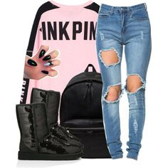 love black by hispeaceprincess on Polyvore featuring Victoria's Secret PINK, UGG Australia and Yves Saint Laurent