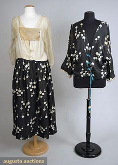 "PAUL POIRET PRINTED SILK DRESS (without jacket), 1921 Black China silk w/ white stylized lollipop print 2-piece day dress, underskirt w/ attached silk undershirt, top w/ dolman sleeves, crochet bauble trim, turquoise gros-grain ribbons & celluloid tassels, B 42"", W 35"", Dress L 51"", Top Front L 25"", TopBack L 19"", large ""Paul Poiret a Paris"" label. - Augusta Auctions"
