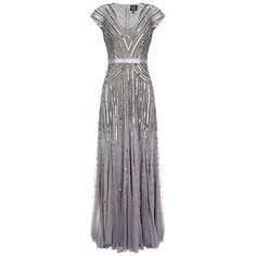 Adrianna Papell Cap Sleeve Long Sequin Dress, Silver/Grey and other apparel, accessories and trends. Browse and shop related looks. Long Sequin Dress, Silver Sequin Dress, Long Sleeve Tunic Dress, Dress Long, Sequin Gown, Beaded Gown, Sleeve Dresses, Gatsby Dress For Sale, Great Gatsby Dresses