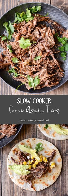 Slow Cooker Carne Asada is a simple way to make delicious tacos any night of the week! This tender delicious beef has just the right seasonings!