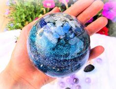 Large Multigem Orgonite Sphere /Blue Orgone by OrgoneUniverseCom