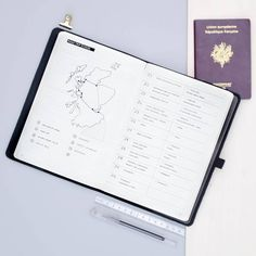Travel planning spread in my bullet journal with a rough itinerary map, a bucket list and a list of B&B and hostels to book | Bullet journal inspiration, travel plans, new adventures, travel planning in a minimal bullet journal, travel journal