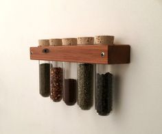 Test Tube Spice Rack Wall Spice Rack with Glass Test Tubes