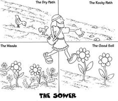 Parables Of Jesus Coloring Pages Sunday School Activities, Church Activities, Bible Activities, Sunday School Lessons, Sunday School Crafts, Parable Of The Sower For Kids, Idees Cate, Sunday School Coloring Pages, Parables Of Jesus
